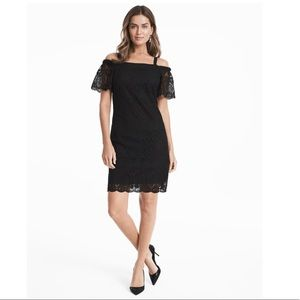 NWT WHBM OFF THE SHOULDER BLACK LACE SHIFT DRESS